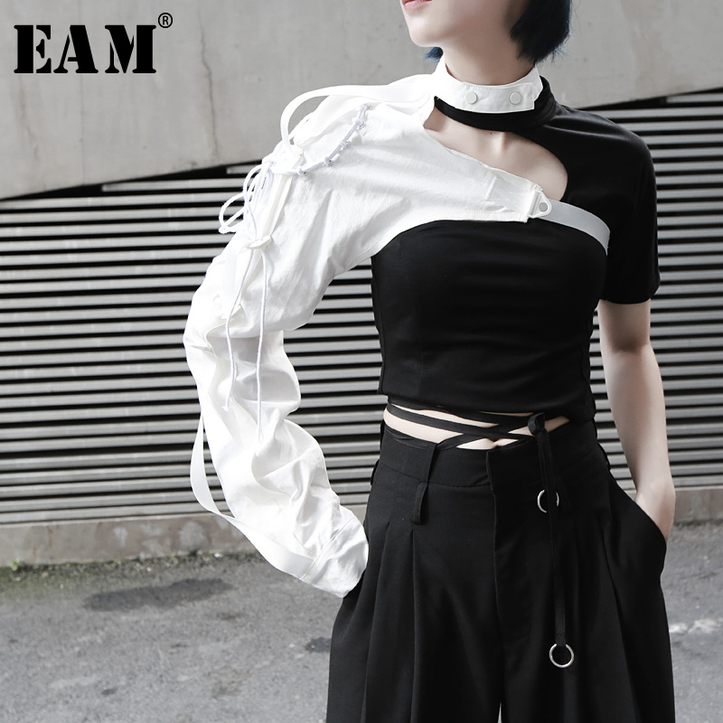 [EAM] 2020 New Spring Summer Lapel One-sided Long-sleeved Accessories Irregular Personality Shirt Women Blouse Fashion  JX407