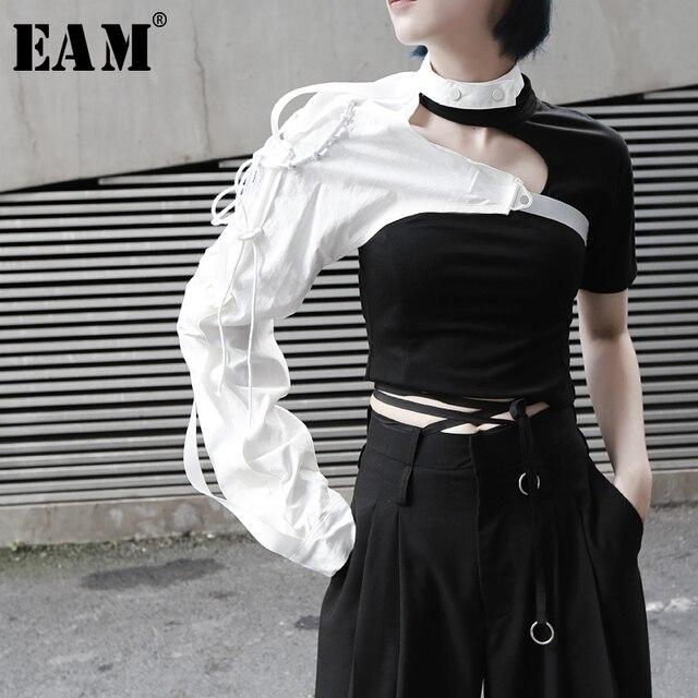[EAM] Camisa de manga larga de una cara para mujer, camisa con personalidad Irregular, blusa de moda JX407, primavera y verano, 2020