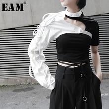 [Eem] 2020 yeni bahar yaz yaka tek taraflı uzun kollu aksesuarları düzensiz kişilik gömlek kadın bluz moda JX407