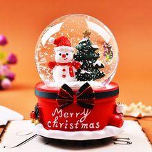 Christmas Snow Globe Music Box Santa Snowman Crystal Ball With Light Home Bedroom Diy Decoration Xmas