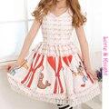 Fairy tale trupe de circo dos desenhos animados impressão com decote em v patchwork sweet lolita dress