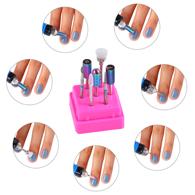 7 Pcs Cutter for Manicure Tungsten Carbide Nail Drill Bit Set Milling Cutters with Nail File Holder Nail Art Pedicure Tools Kit 2