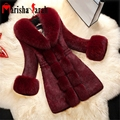 Mujeres Otoño Invierno Faux Fur Coat Chaqueta de Cuello de piel de Zorro de Lujo Abrigo de Piel de conejo Hembra Negro Larga Gruesa Caliente de Manga Larga Outwear
