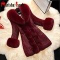 Mulheres Outono Inverno da Pele Do Falso do Revestimento do Revestimento de Luxo Gola de Pele De Raposa Pele De coelho Casaco Feminino Preto Longo Grosso Quente Outwear Manga Longa