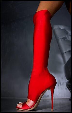 2017 European Autumn  New High Peep Toe Solid Slip-On Stretch Fabric High-Heeled Boots Over knee Fashion Female Long Boots stylish european autumn