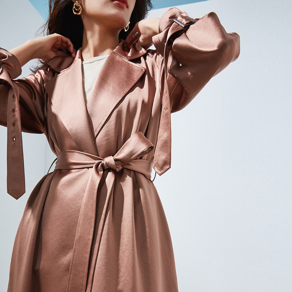 IRINAW998 2019 Spring Collection new arrivals shiny acetate pleated long trench coat women