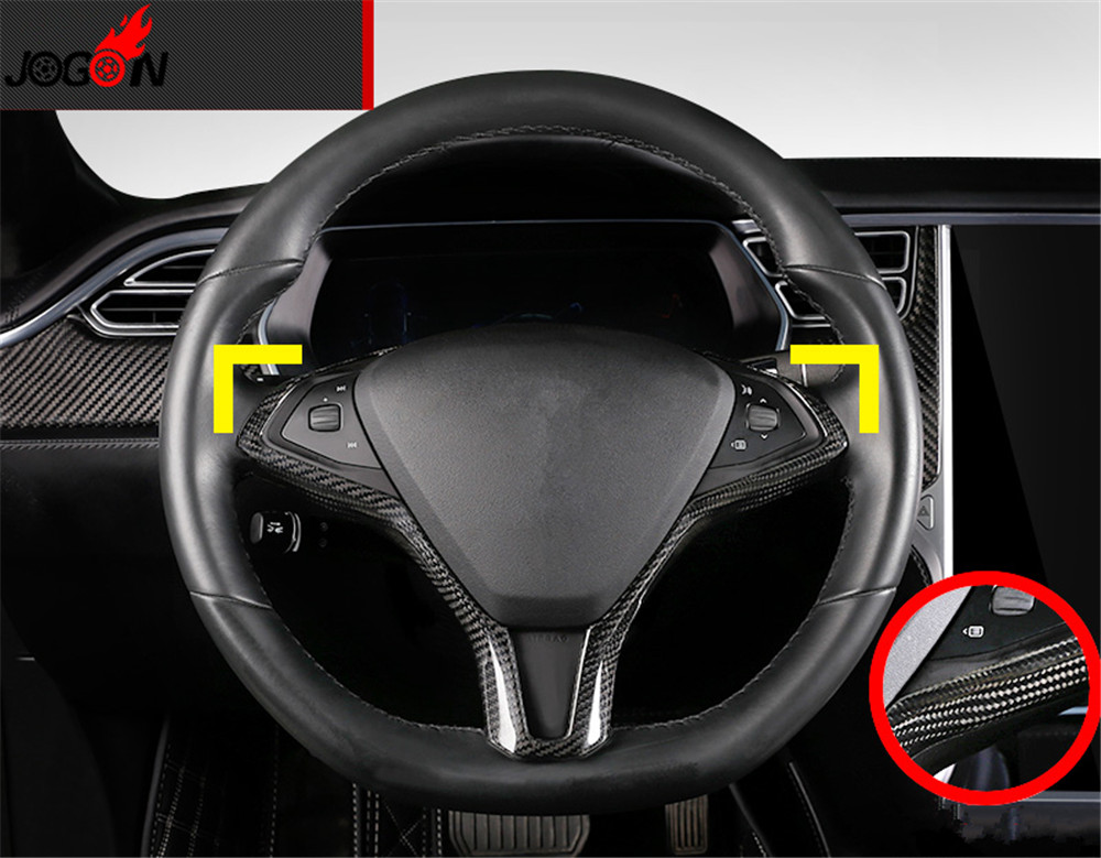 Real Carbon Fiber Steering Wheel Trim Cover Add on style For Tesla model X model S 2014 2015 2016 2017 2018
