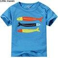 Little maven дети бренд одежды 2016 новый летний мальчики с коротким рукавом о-образным шею майка хлопка рыбы марка ти топы L058