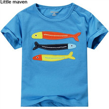 Little maven kids brand clothing 2016 summer baby boy clothes short sleeve t shirt 100% cotton embroidered fish tee tops L058