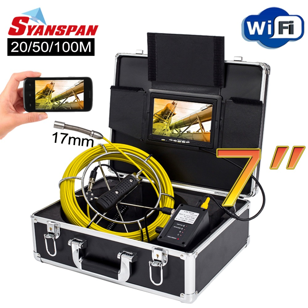 SYANSPAN 7 Wireless WiFi 20 50 100M Pipe Inspection Video Camera Drain Sewer Pipeline Industrial Endoscope