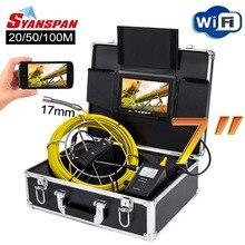 """SYANSPAN 7 """"WiFi Senza Fili 20/50/100 M di Controllo del Tubo Video Macchina Fotografica, di scarico tubo di Fogna Pipeline Endoscopio Industriale di sostegno del Android/IOS"""