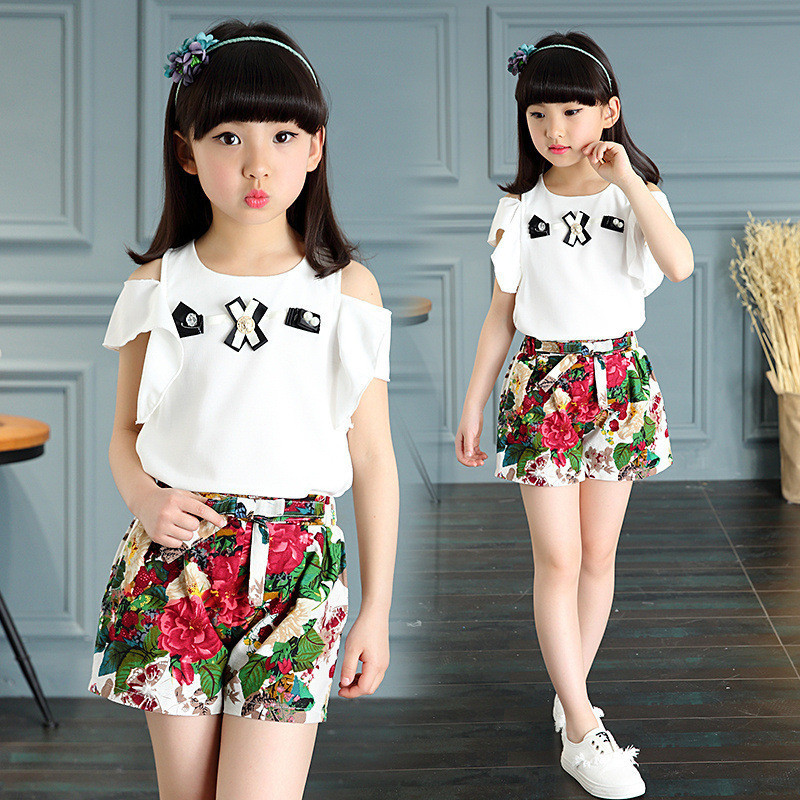 Free shipping 2017 summer new fashion bow Pearl T-shirt+flower pants kid Children clothing set baby girl clothes set 3-12 ages