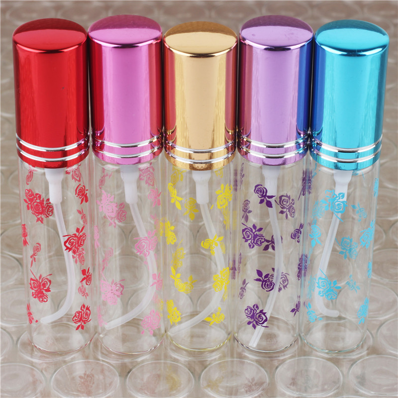 5Pcs 10ml Frosting Glass Perfume Spray Bottle Atomizer can be filled with empty bottles with 5 colours