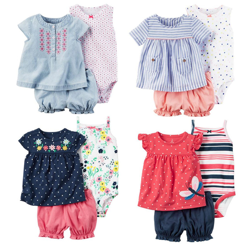 Summer 2017 baby girl clothing 100 cotton bebes clothes for baby bodysuit shorts T shirt 3