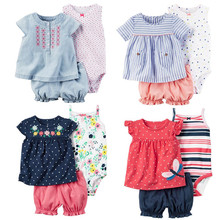 Summer 2017 baby girl clothing 100% cotton bebes clothes for baby ,  bodysuit + shorts + T-shirt 3 pcs infant clothing suit