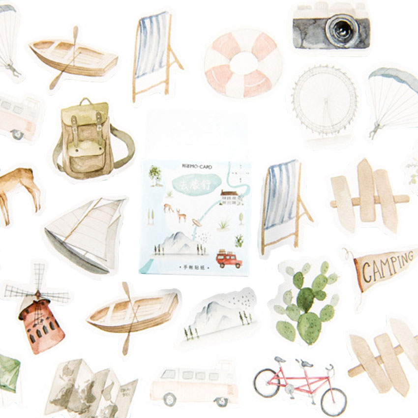 46pcs pack Go Travel Hand Painted Stionery Decorative Sticker DIY Album Account Decoration Stickers Scrapbooking Office Supply in Stickers from Home Garden