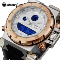 INFANTRY Mens Dual Display Watches Luminous Golden Stainless Steel Case Stop Watches Rubber Strap Sports Wristwatches
