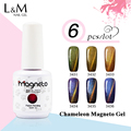 6pcs Free Shipping  Chameleon Gel Nail 3D Magnetic Cat Eye Soak Off UV Gel Polish 12colors for choose