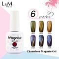 6pcs Free Shipping  Chameleon Gel Nail 3D Magnetic Cat Eye Soak Off UV Gel Polish 12colors for choose