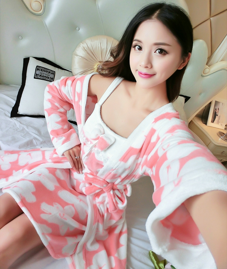2PCS Sexy Thick Warm Flannel Robes Sets for Women 2018 Winter Coral Velvet Lingerie Night Dress Bathrobe Two Piece Set Nightgown 293