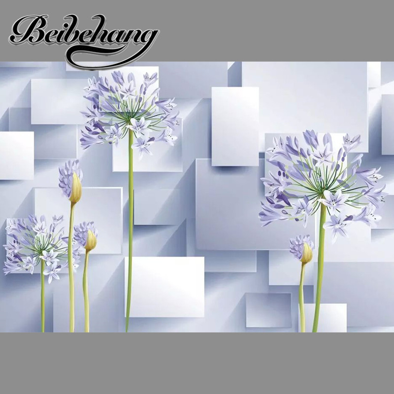 beibehang Florals and cubes Unseamed silk cloth Custom photo wallpaper 3D wall papers backdrop mural wallpapers background beibehang modern luxury circle design wallpaper 3d stereoscopic mural wallpapers non woven home decor wallpapers flocking wa