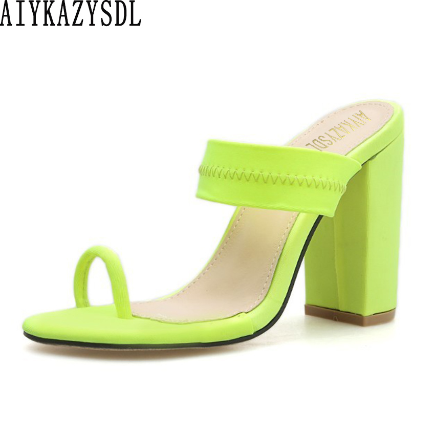 women 2019 Neon Green Yellow Sandals Ring Toe Slides Mules Slippers Thick Block High Heels Concise Shoes Fetish Party Clubwearwomen 2019 Neon Green Yellow Sandals Ring Toe Slides Mules Slippers Thick Block High Heels Concise Shoes Fetish Party Clubwear
