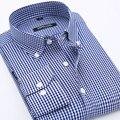 2016 новых людей с длинными рукавами поло клетчатой рубашке 100% хлопок мужская мода свободного покроя мужчины рубашка сорочка homme