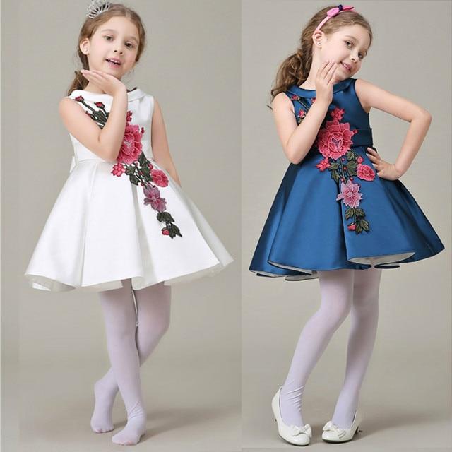 3-8 yrs 2016 New Baby Girls Dress Princess performence clothes Summer Sleeveless Infant Girls floral Dress kids girls clothing