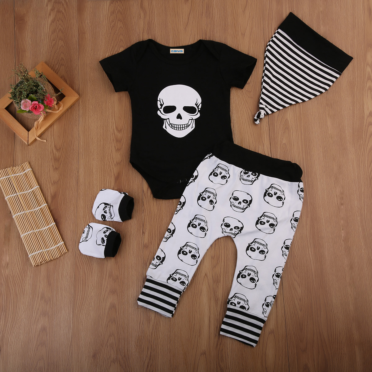 Newborn Kids Baby Boys Skull Tops Romper Long Pants Hat 4Pcs Outfits Set Clothes