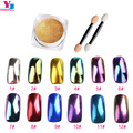 2g/box Shinning Mirror Effect Fine Nail Glitter Powder Sequins Dust Chrome Pigment DIY Nail Art Decorations Make Up 12 Color New