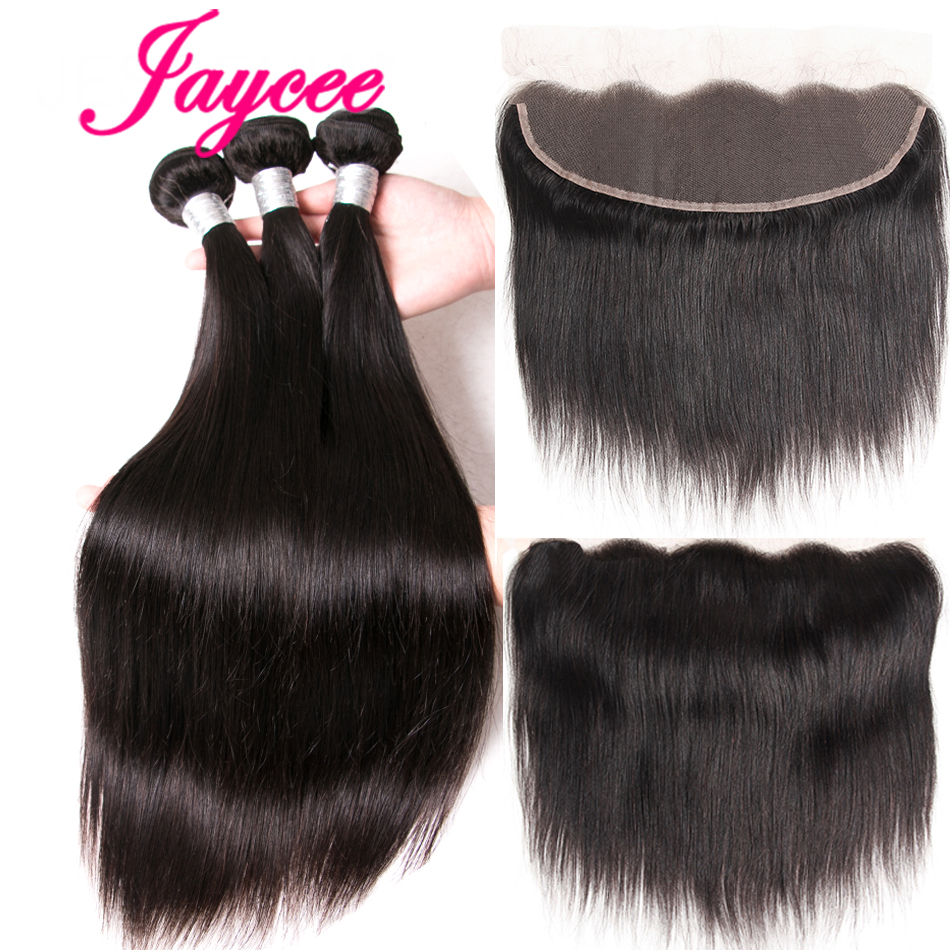 JAYCEEHAIR Brazilian Straight Hair Bundles With Lace Frontal 2/3 Pieces With Closure 13*4 Remy Extensions Tissage Bresiliens