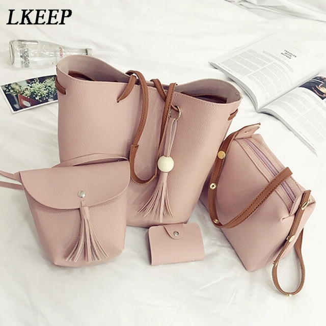 b6f7b924c157 4pcs   set Women PU Leather Handbag Shoulder Bag Tote Purse Bag Set Fashion Messenger  Satchel