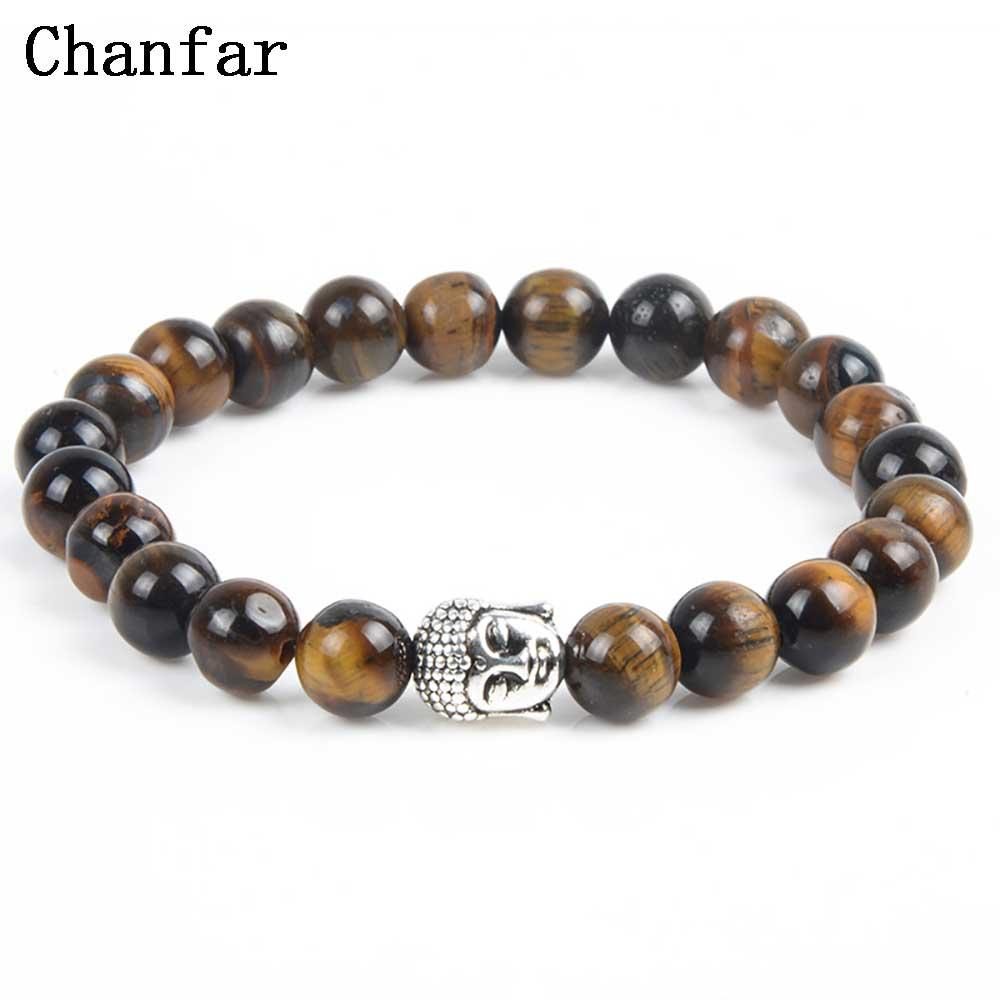 Chanfar Antique Silver Plated Buddha Bracelet Tiger Eye Lavas