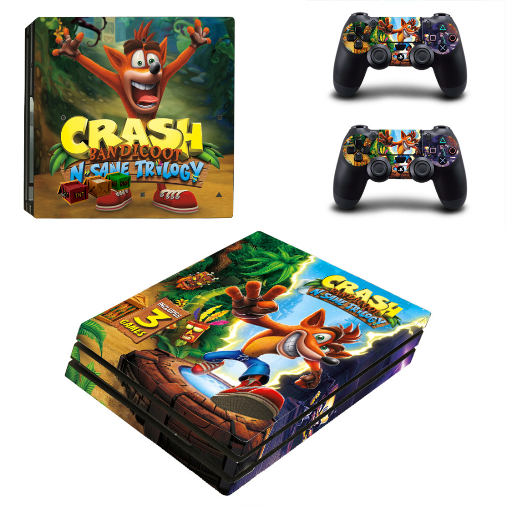 US $9 39 6% OFF|Crash Bandicoot N Sane Trilogy PS4 Pro Skin Sticker Decal  For Sony PS4 PlayStation 4 Pro Console and 2 Controllers Stickers-in