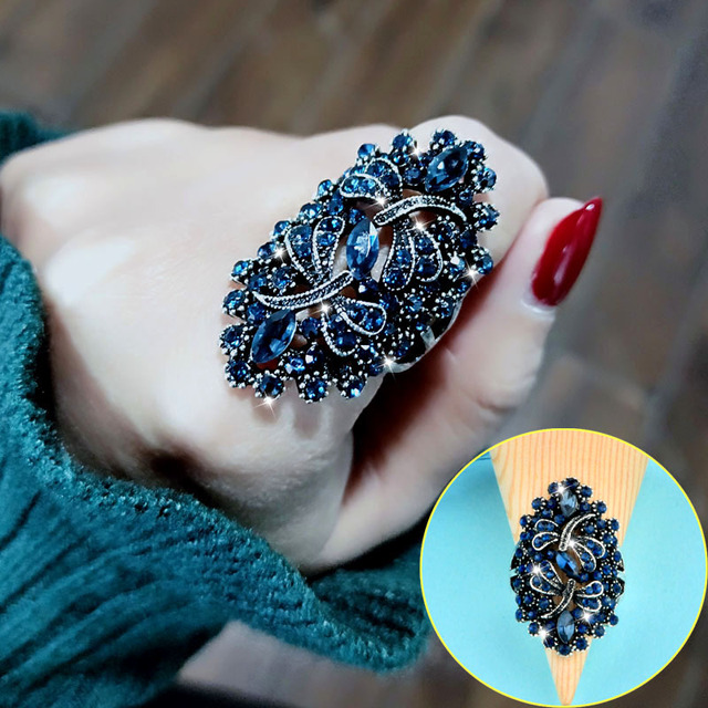 SINLEERY Vintage Big Hollow Blue Rhinestone Dragonfly Rings Women Antique Silver Color Wedding Party Jewelry JZ565 SSC