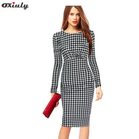 Newest Autumn Women Long Sleeve Elegant Dot Empire Waist Stretchy Bodycon Pencil Dresses Casual Knee Length