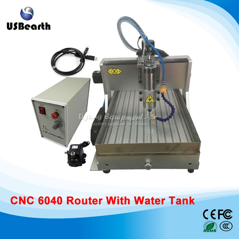 CNC Router Engraving Miling Machine CNC 6040 USB 1.5KW, water tank for hard metal wood , no custom duty to Russia