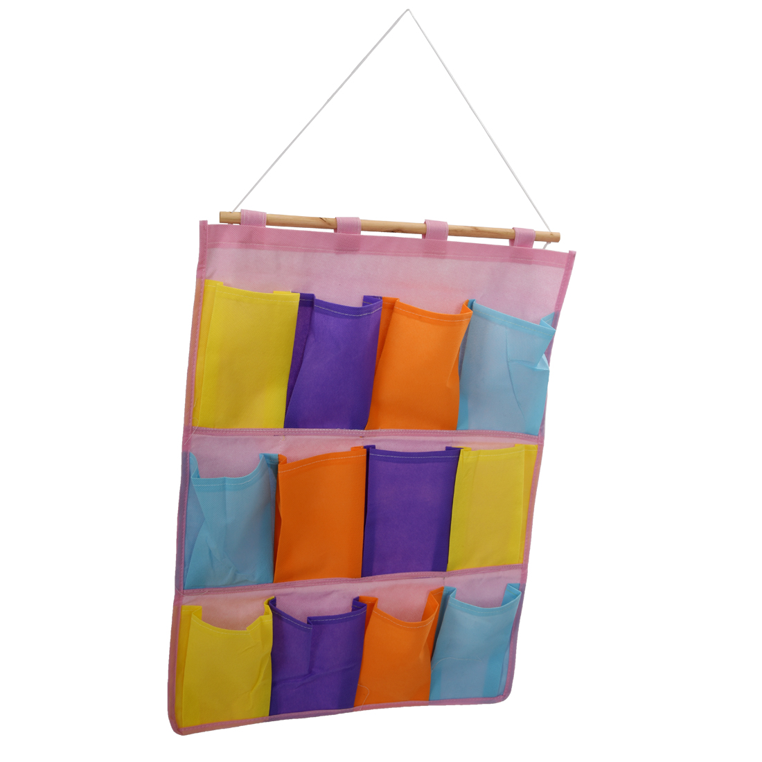 HGHO-Colorful Wall Door Cloth Hanging Storage Bags Case Pocket Home Organization