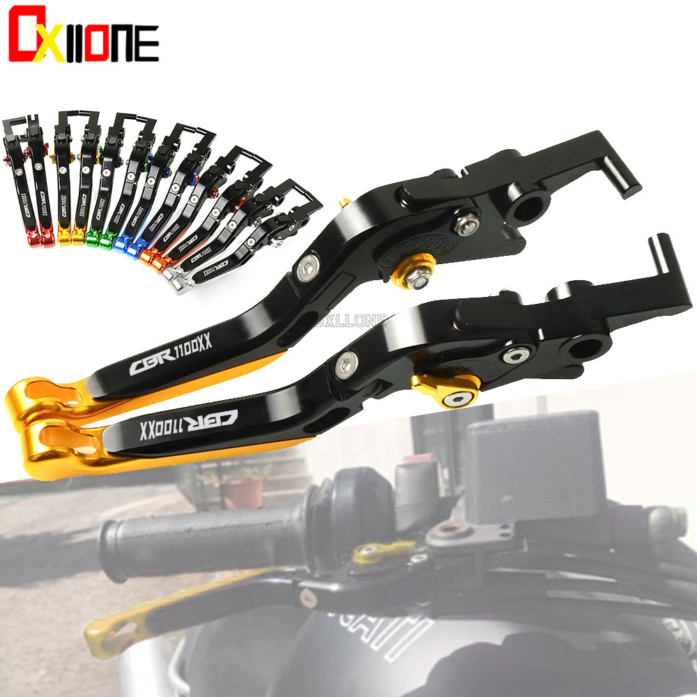 Motorcycle CNC aluminum Adjustable Brakes Clutch Levers For HONDA CBR 1100 XX CBR1100XX/BLACKBIRD 97 07 Folding Extendable