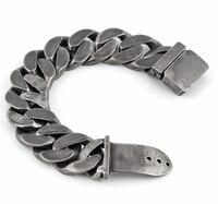 25mm Mens Chain Boys Big Curb Link Gunmetal Tone 316L Stainless Steel Bracelet Charm Bracelets For