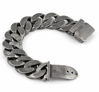 25mm Mens Chain Boys Big Curb Link Gunmetal Tone 316L Stainless Steel Bracelet Charm Bracelets For