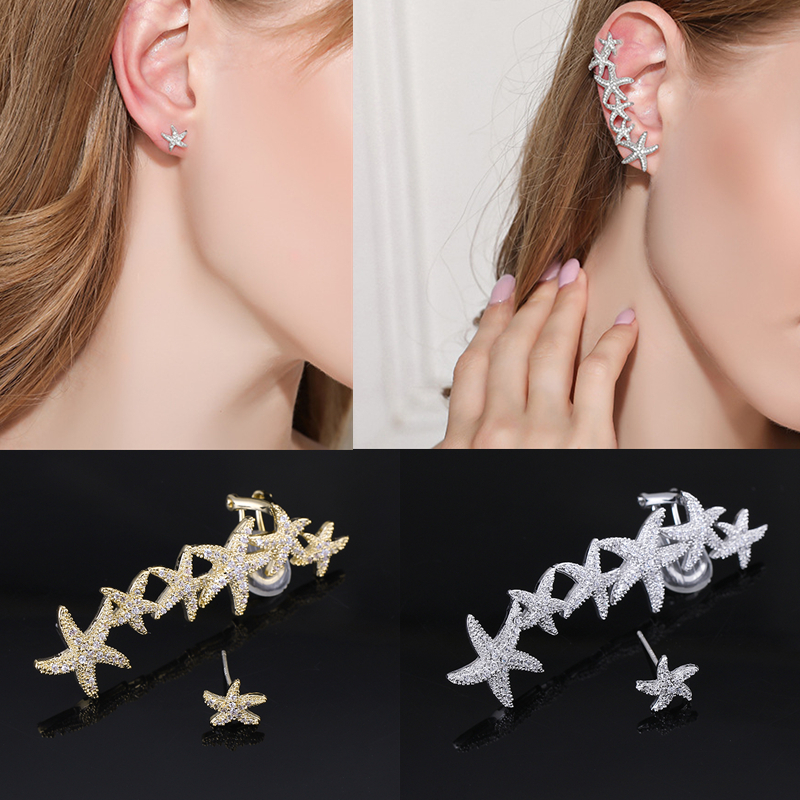 XIUMEIYIZU Trendy Asymmetric Handmade Copper Gold / Silver Plated Cubic Zirconia Starfish Ear Clip Cuff Earrings