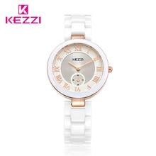 Kezzi Top Brand Design Nouveau Mode Vrai En Céramique Femmes Horloge Casual Élégant Classique Poignet Montre À Quartz Étanche Femelle KW1438