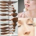 10 unids establece Cepillo de Dientes Forma Oval Powder Foundation Brush Kits de Cepillo Del Maquillaje Profesional POLIVALENTE con Caja