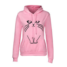 Womens Cat Print Crop Hoodie Sweatshirt Hooded Pullover Long Sleeve Winter Fleece Casual Sweatshirt Female Jumper Sportswear#23(China)