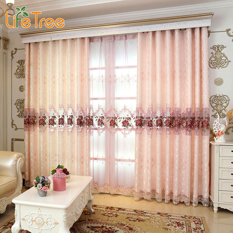 drapes for living room windows lovely pink peony embroidered luxury curtains for bedroom 18639