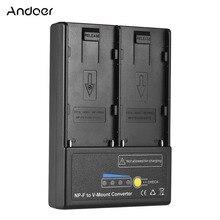 Andoer NP F để V mount Pin Chuyển Đổi Adapter Tấm với Dual Khe Cắm cho NP F550 NP F750 NP F970 Loạt Chất Lượng Cao