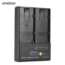 Andoer NP F zu V mount Akku Konverter Adapter Platte mit Dual Slot für NP F550 NP F750 NP F970 Serie Hohe Qualität