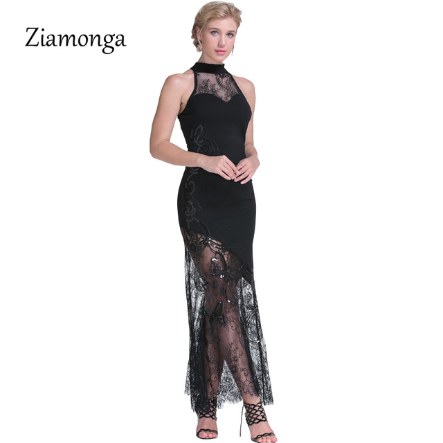Ziamonga Women Elegant Sequined Lace Dress Maxi Long Dresses Robe Femme  Vestido Longo Sexy Mermaid Evening Party Maxi Dresses c8b3dc24612f