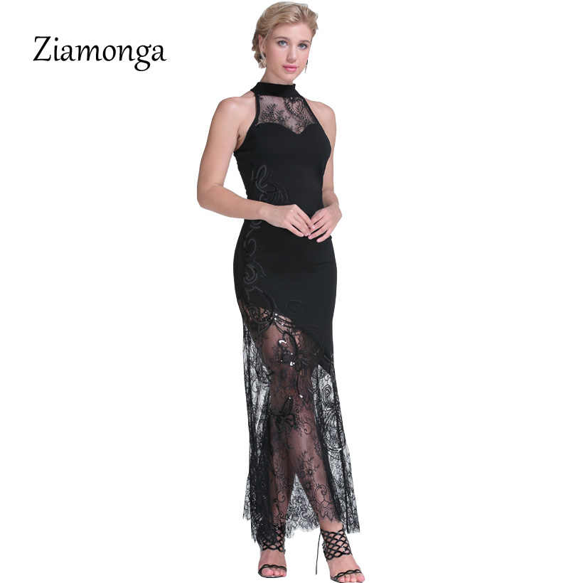 21d5358882c96 Ziamonga Women Elegant Sequined Lace Dress Maxi Long Dresses Robe Femme  Vestido Longo Sexy Mermaid Evening Party Maxi Dresses